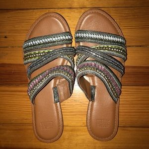 Shoes - Beaded Strappy Slide Sandals